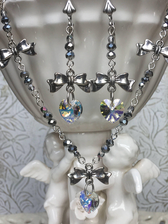 Hearts Bows Earrings Heart Jewelry Silver Swarovski ...