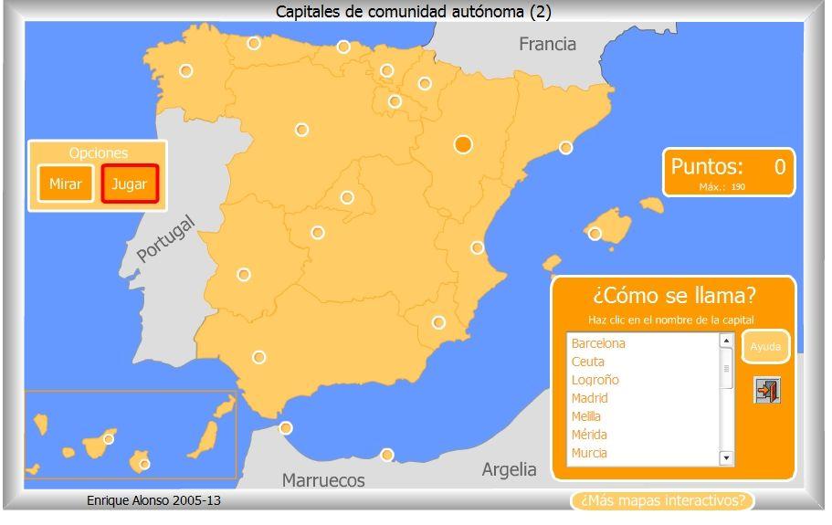 Encuentra La Capital De La Autonomia Espagnol Maps Carte Et
