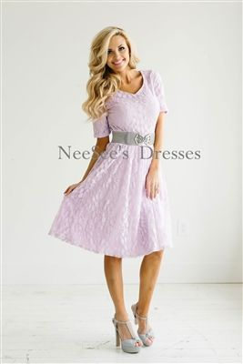 42f780487d45 Lavender Lace Modest Dress by Mikarose