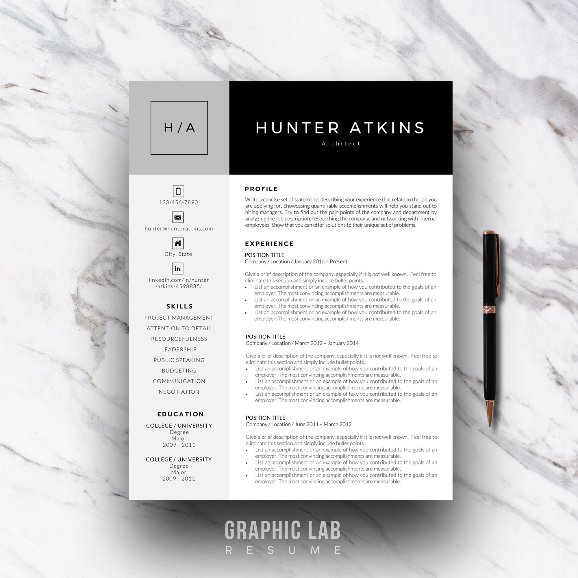 References Sheet Template Classy Resume Template One Page  Curriculum Vitae  One Page Resume  Two .
