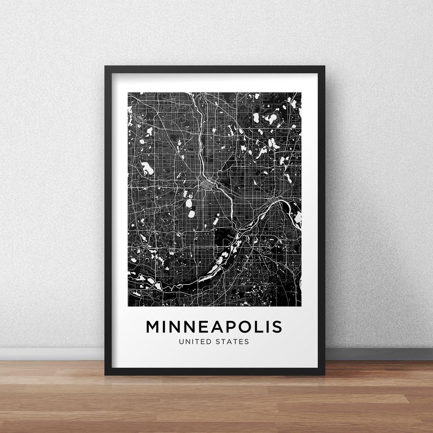 Minneapolis Map Print Minneapolis Map Download City Map Etsy Minneapolis Map Map Print Printable Artwork