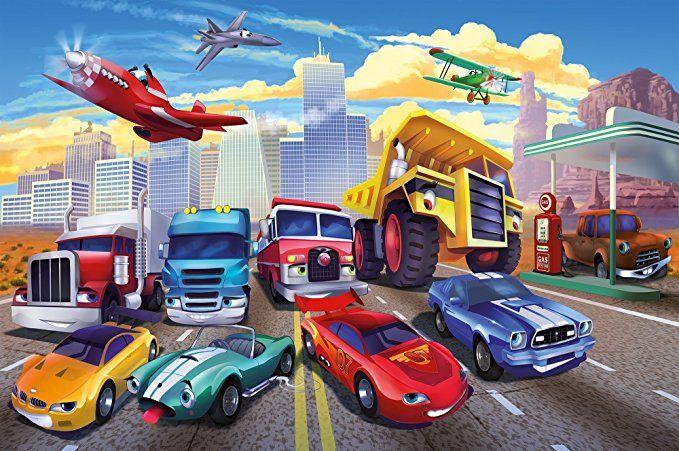 Poster für Kinderzimmer Autorennen Wandbild Dekoration