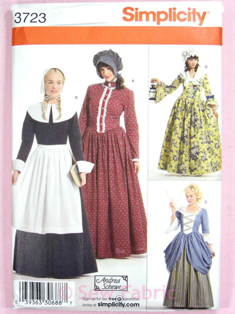 Simplicity 3723 Sewing Pattern Ladies Historical Dress Pilgrim Colonial Frontier Costume Sewing Patterns Simplicity Patterns Costumes Colonial Dress