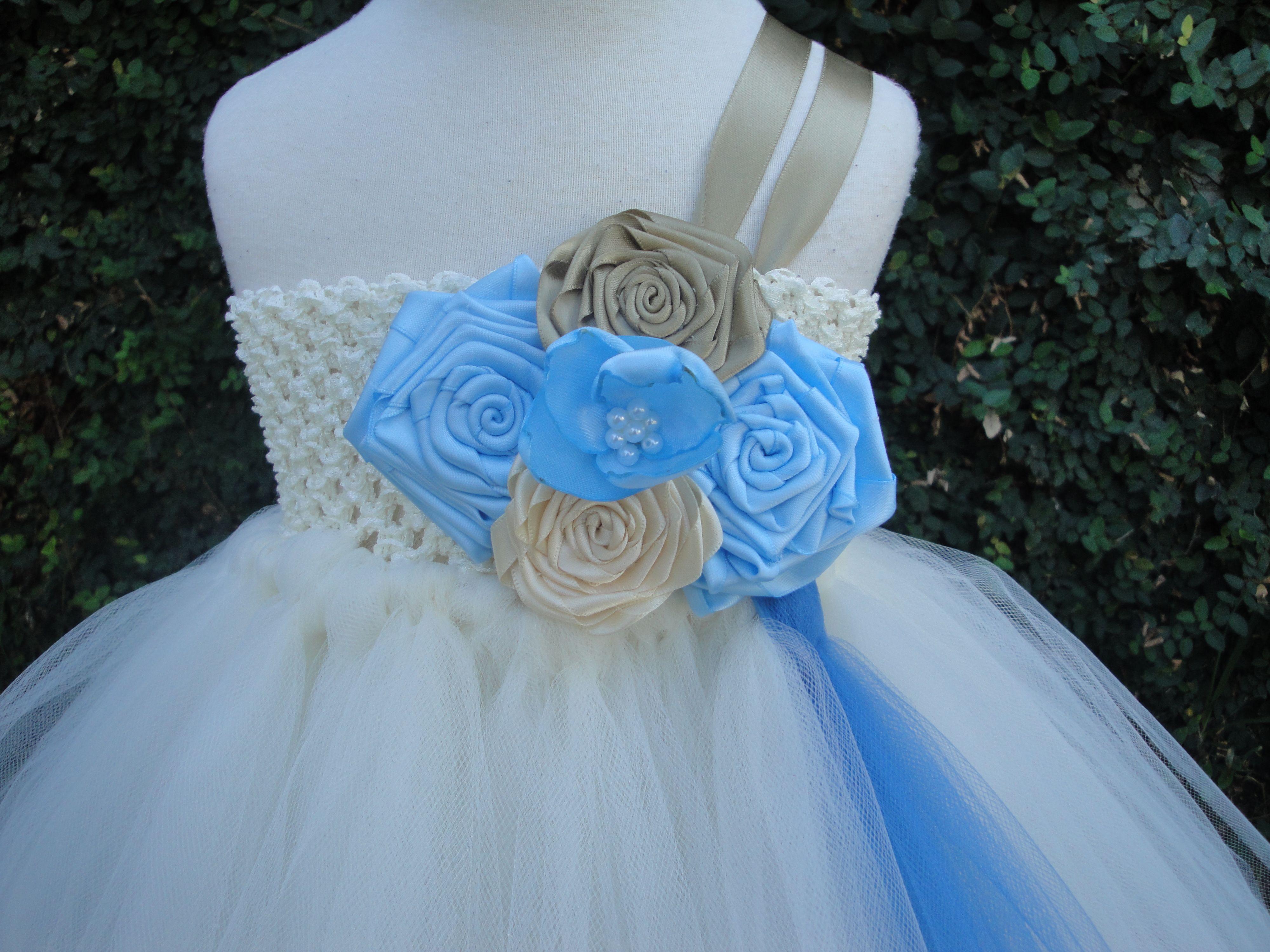 flower girl wedding tutu ideas | flower girl ivory,gold and blue ...