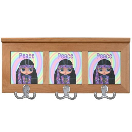 Peace Purple Hippie Chick Peace Sign Cute Coat Rack