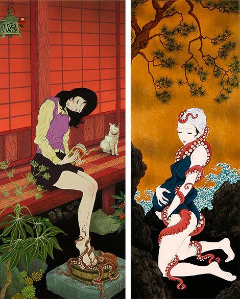 Facebook Twitter Pinterest Google+ Tumblr WhatsAppEntre el erotismo y la fantasía  Por Mar Rojas@TrineandoLibros   Inspirado en las litografías tradicionales sobre todo en las de Hokusai, Yuji Moriguchi emerge de las escenas subterráneas de Tokio. Su estilo, una mezcla onírica entre lo clásico, lo moderno y lo erótico expone a sus personajes, en …