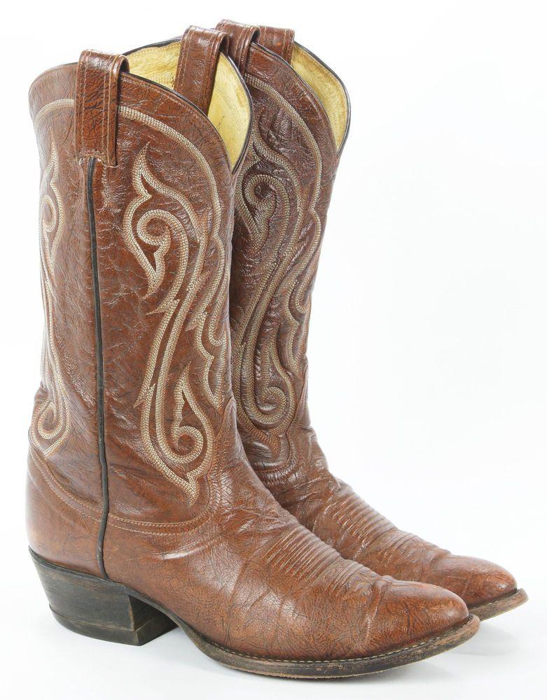 TONY LAMA Black Label Men's Leather Cowboy Western Boots Size 9.5 D Black