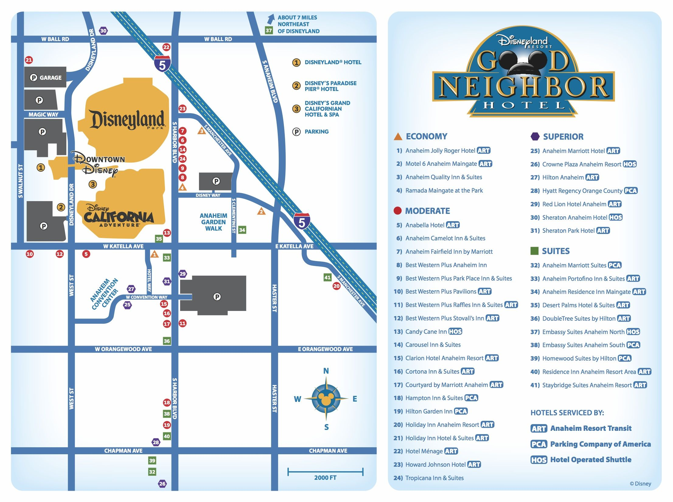 good neighbor hotels map | disneyland resort/hotel maps-great for
