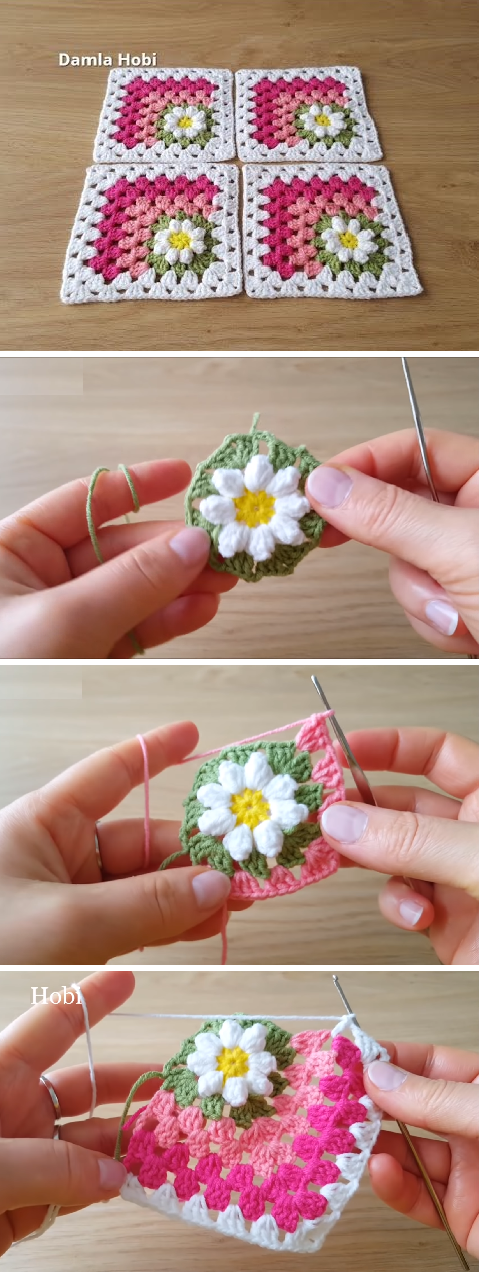 How To Crochet Mitered Daisy Square #grannysquares