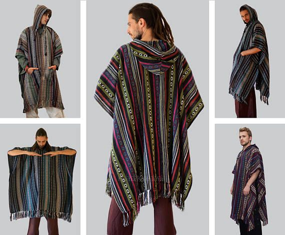 Mexico Poncho, Mens Hippie Long woven poncho with Hood