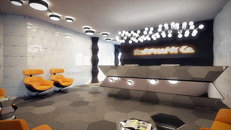 futuristic looking geometric office space reviews interior design inside review also geometrix is an duo and one of their recent rh pinterest