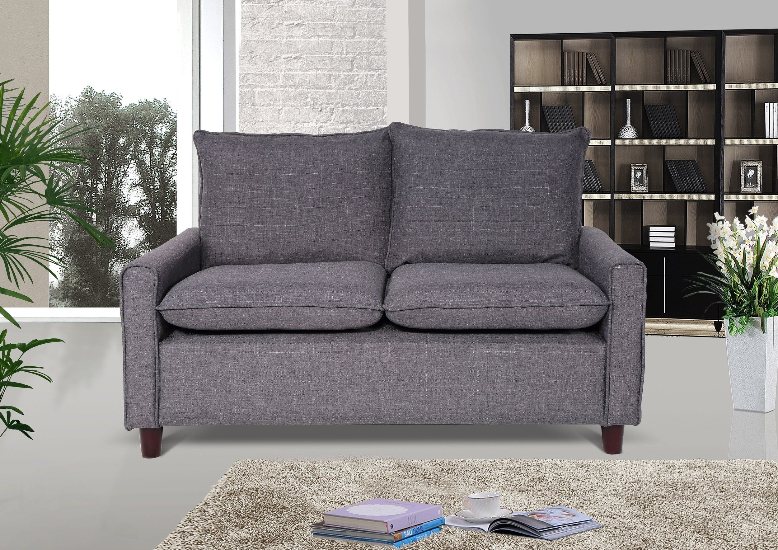 Us Pride Furniture Blaire Fabric Modern Loveseat Dark Grey
