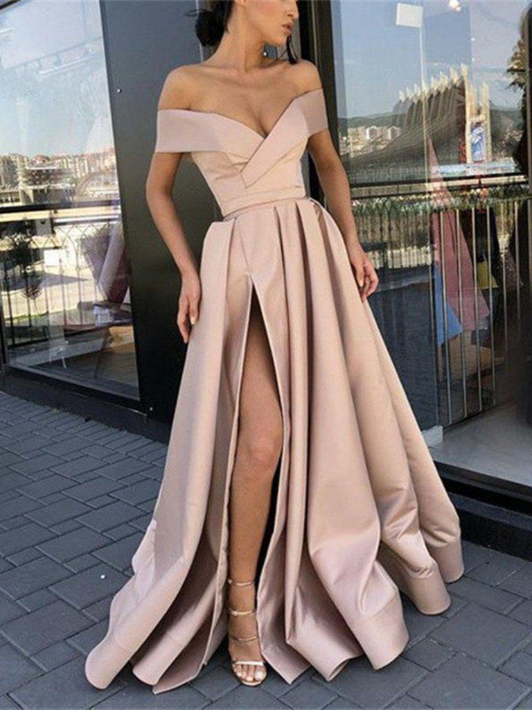 9b96d19187d9 Off Shoulder Champagne  Sky Blue High Slit Prom Dresses