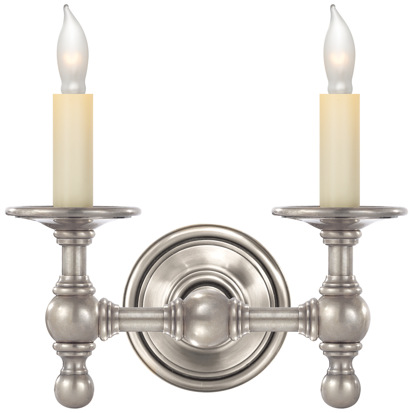 Classic Double Sconce in Polished Nickel   Sconces, Visual ... on Decorative Wall Sconces Candle Holders Chrome Nickel id=98459