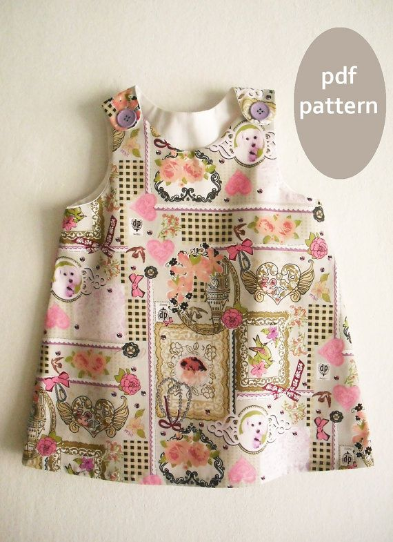 Size 2Y- 3/4Y / A Line Dress Pattern with Tutorial/Toddler dress ...