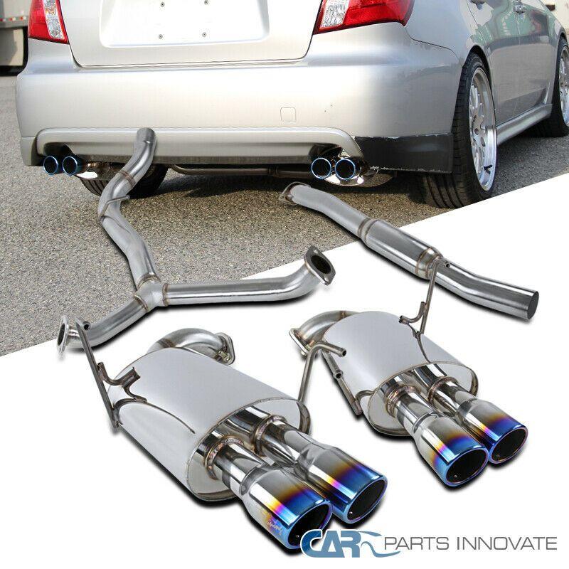 For 08-14 Subaru Impreza WRX STI Sedan SS Catback Exhaust Quad Burnt Tip Muffler