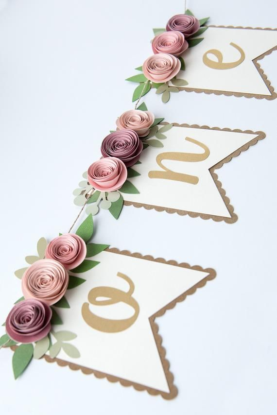 Photo of Pink and Mauve One High Chair Banner, 1st birthday high chair banner, first birthday banner, floral party decor, floral birthday banner