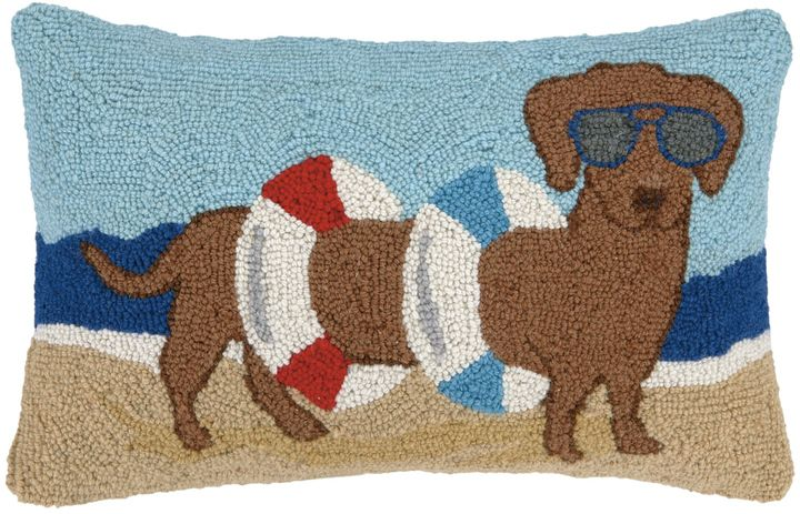 Phi Dachshund In Tube Beach Hook Pillow