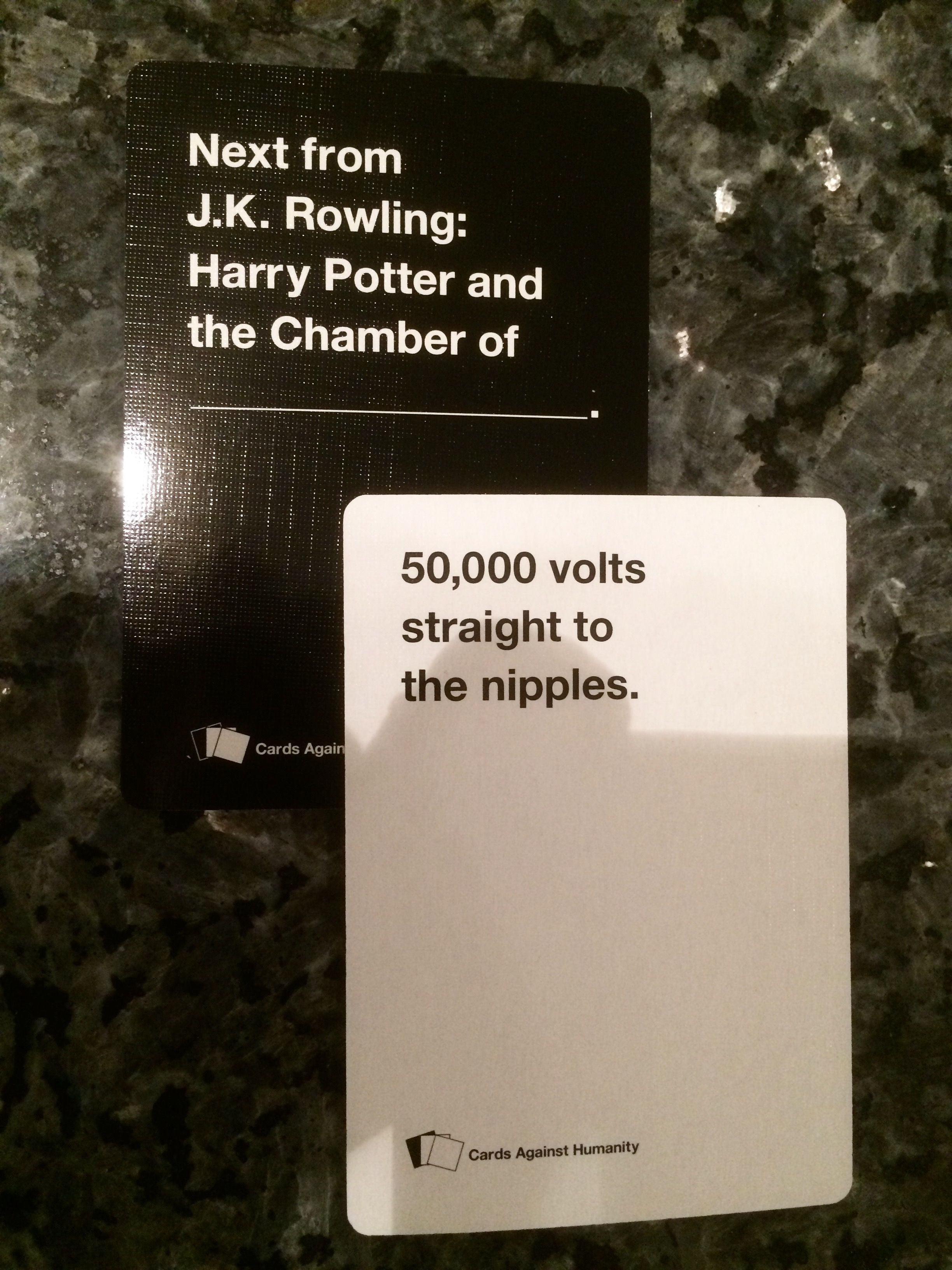 Cards Against Humanity, my first two picks.