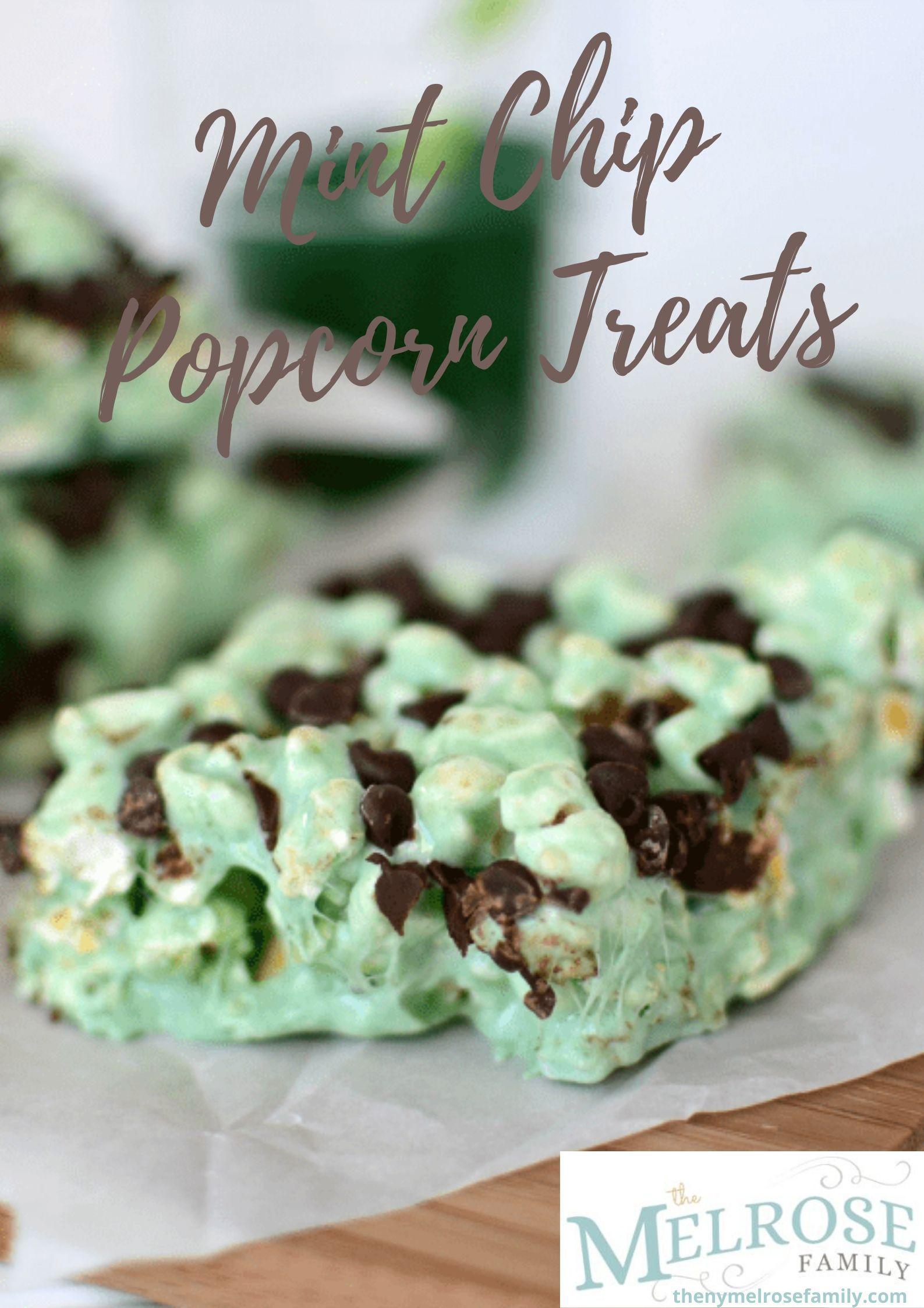 St. Patrick's Day Desserts - Mint Chip Popcorn Treats