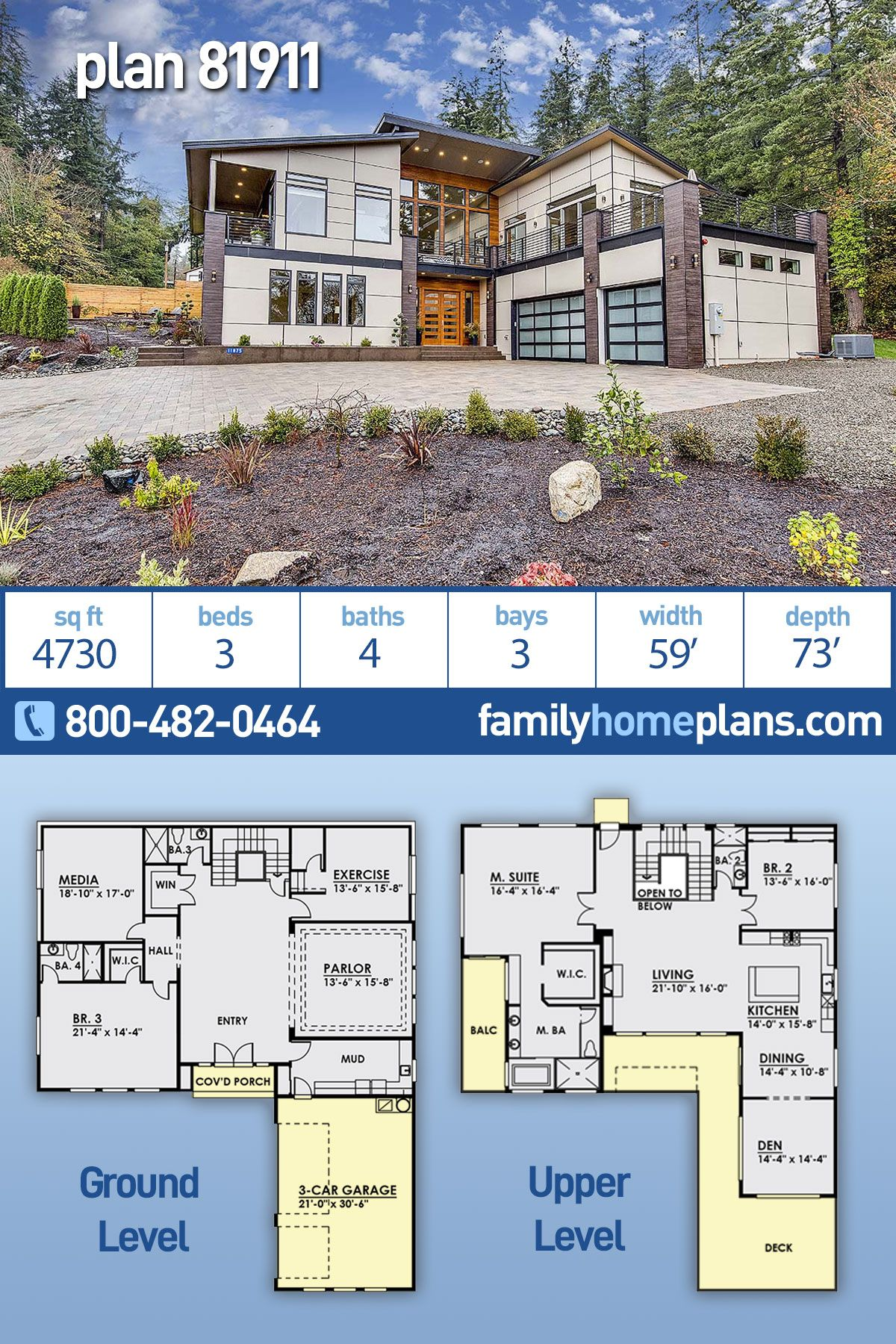 Modern Home Plan With A Great View Has 4730 Sq Ft 3 Beds 4 Baths And A 3 Car Garage Modern Style House Plans House Plans Modern House Plans