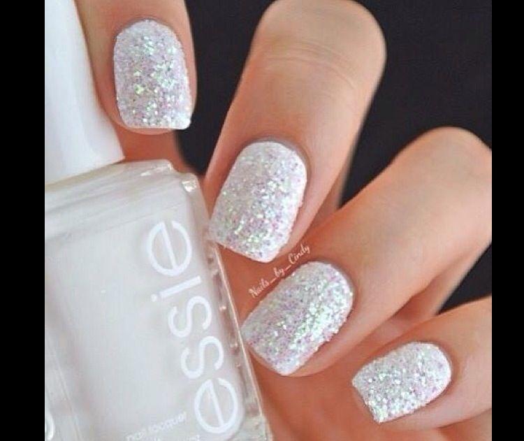 White Winter Snow Nails Sparkle Nails Trendy Nails Essie Nail