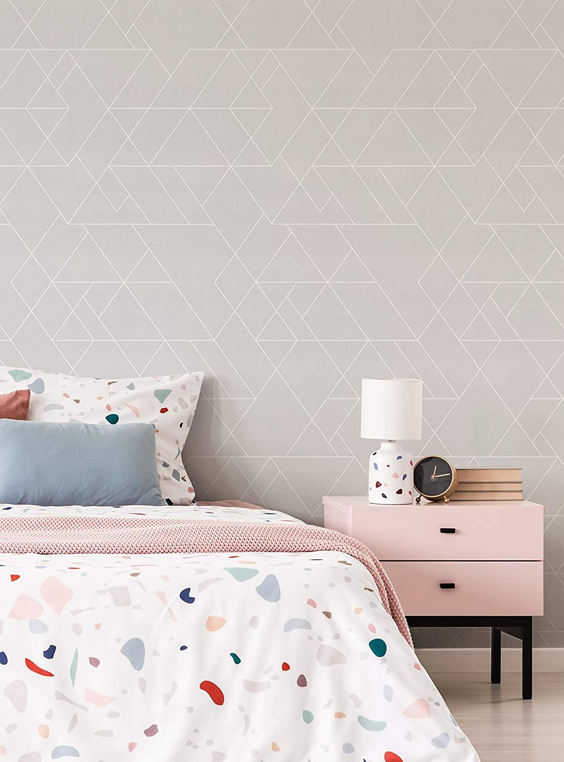 Triangle Geometric Art Deco Lines Wallpaper Peel And Stick By Simple Shapes Single Sheet 2ft X 4 Wallpaper Panels Lines Wallpaper Peel And Stick Wallpaper