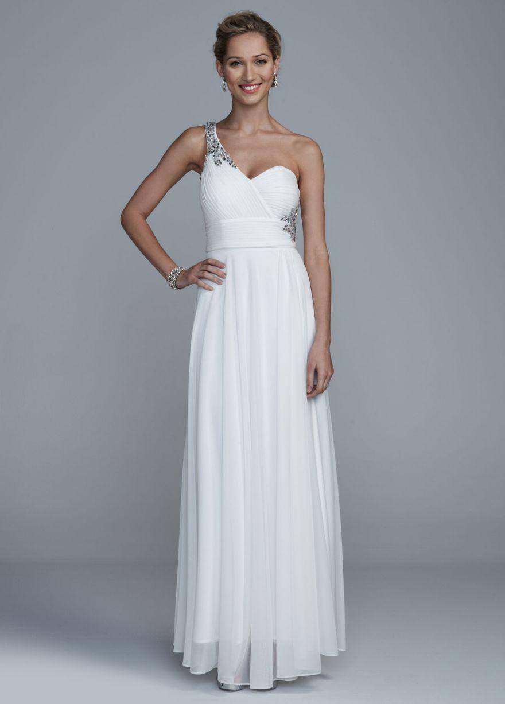 Back detail wedding dress  Long One Shoulder Mesh Dress with Open Back Detail  Davidus Bridal