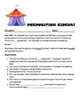 Preposition Circus Act Prepositional Phrases Fun Grammar Activities Good Grammar