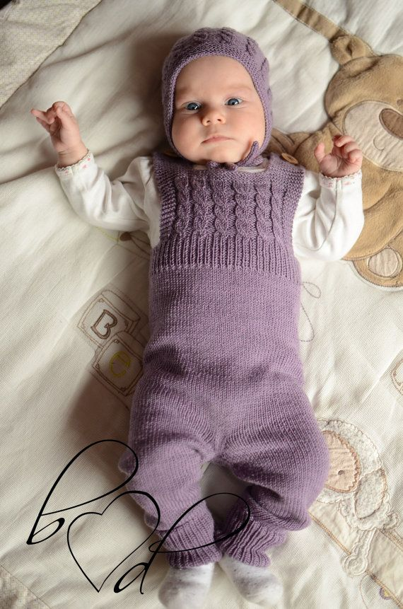 Hand Knit Baby Overalls Knitted Baby Girl Dungarees Baby
