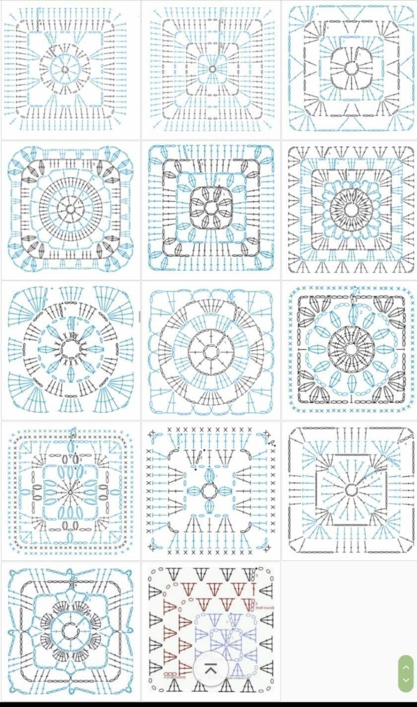 Crochet Granny Square Diagrams  Crochet  Grannysquare  Grannythrow  Blanket  Afghan  Freepattern