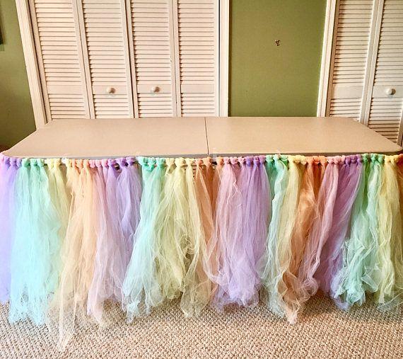 728e4917a Unicornio mesa fiesta falda de tul Pastel mesa unicornio | Unicorn ...