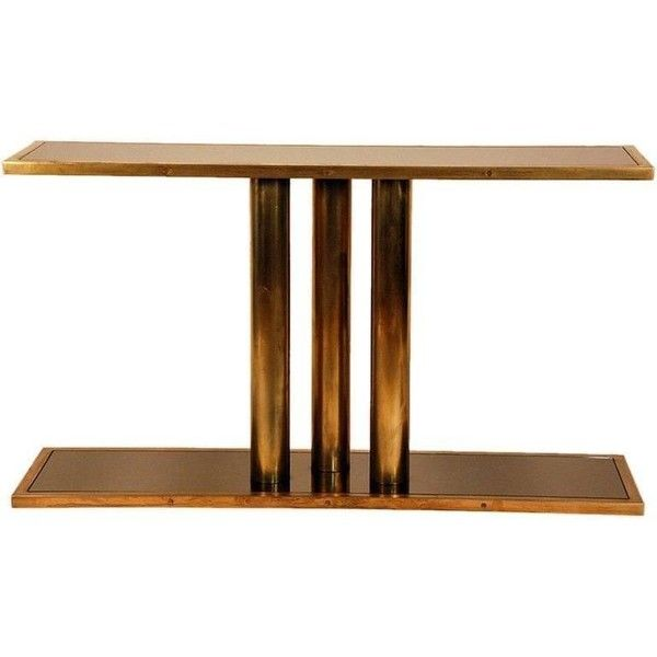 U0027calandreu0027 Patinated Brass And Bronze Mirrored Console By Design... (68405  MAD) ❤ Liked On Polyvore Featuring Home, Furniture, Tables, Accent Tableu2026