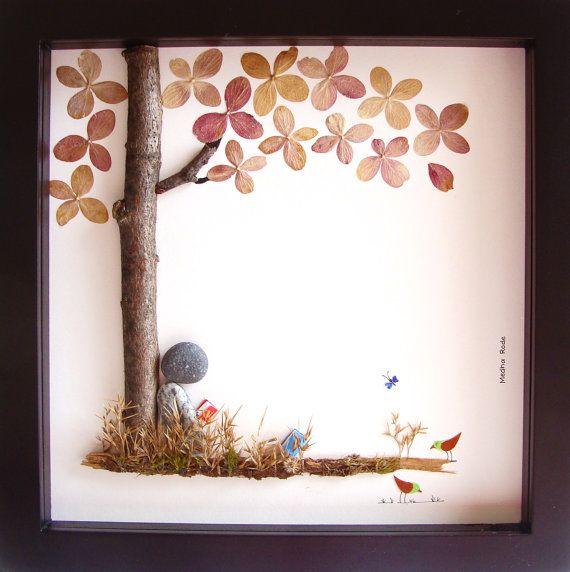 Book lover pebble art girls room decor nursery art for Nature inspired rooms
