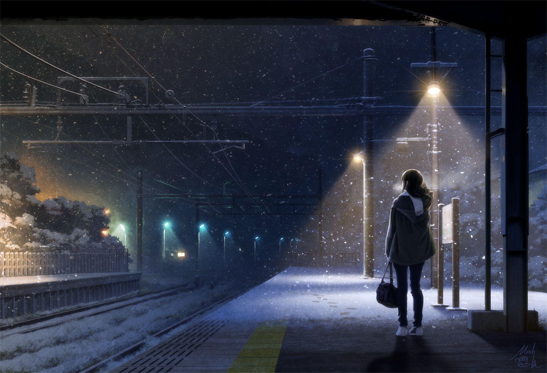 Anime Original Echarpe Madchen Winter Train Station Neige Original Anime Wallpaper 1920x1310 Anime Scenery Anime Background Scenery Hd wallpaper night snow city train