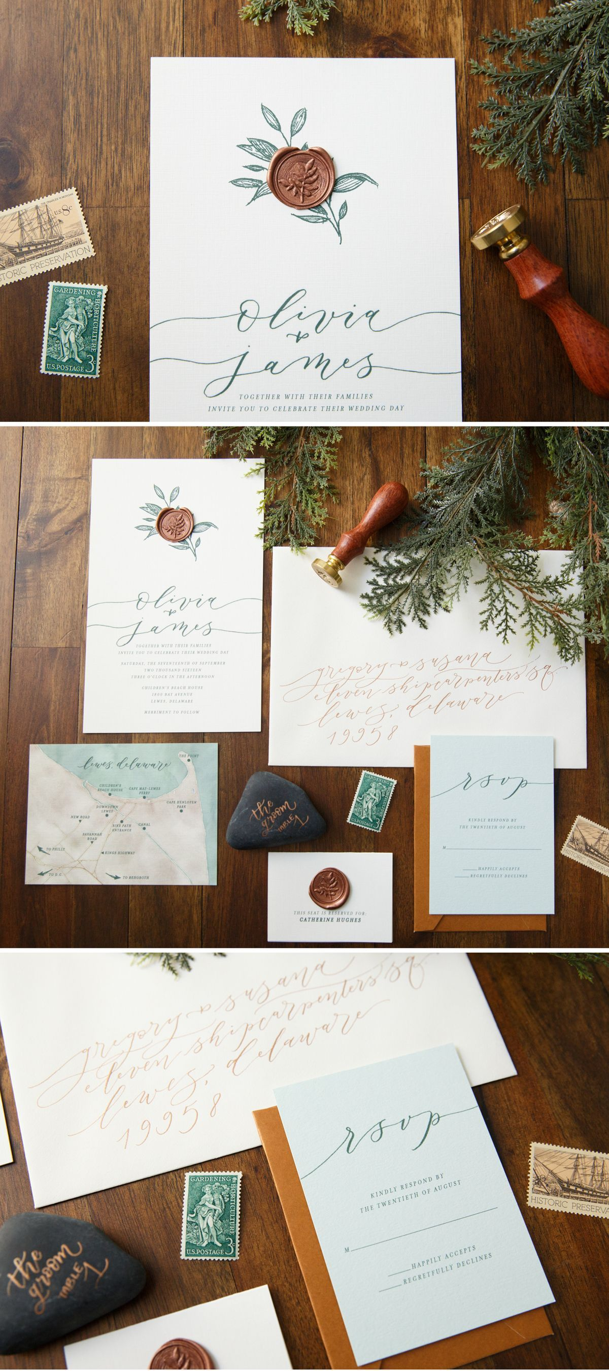 Wax Seal Wedding Invitation by Penn & Paperie. Copper wax seal with ...