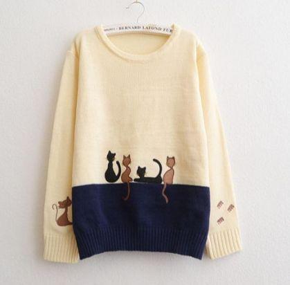 Cute cat students sweater pullover Cute Kawaii Harajuku Fashion - clothing sponsorship