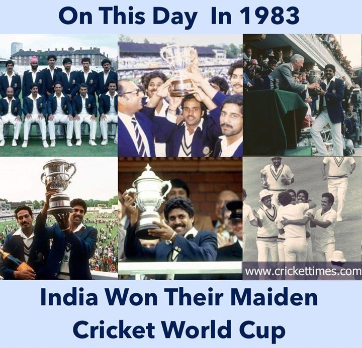 Today 37 Years Back June 25 1983 Kapil Dev Led Team India Lifted The Odi World Cup Defeating In 2020 Kapil Dev World Cup Cancun Mexico Hotels