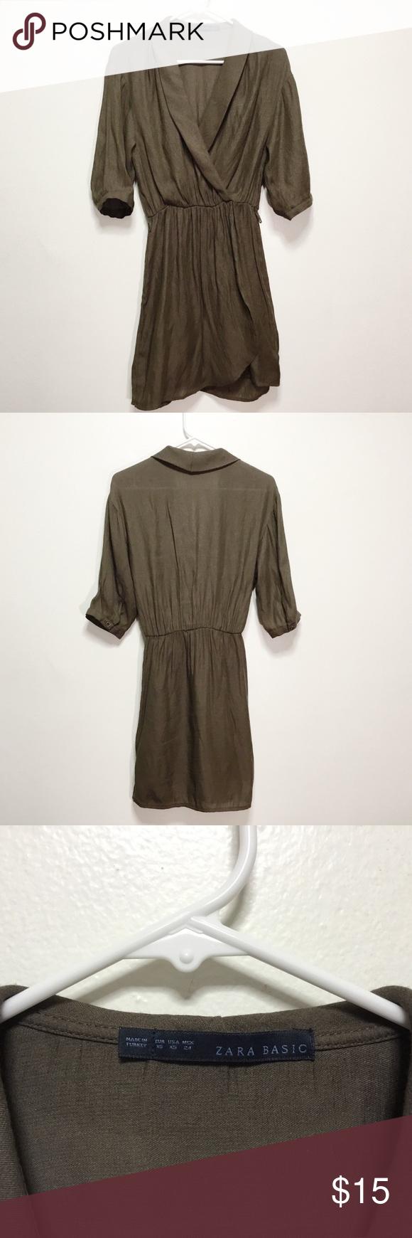 9f6f4b0aeb Zara Linen Dress Green brown linen dress. No belt but loops still on dress