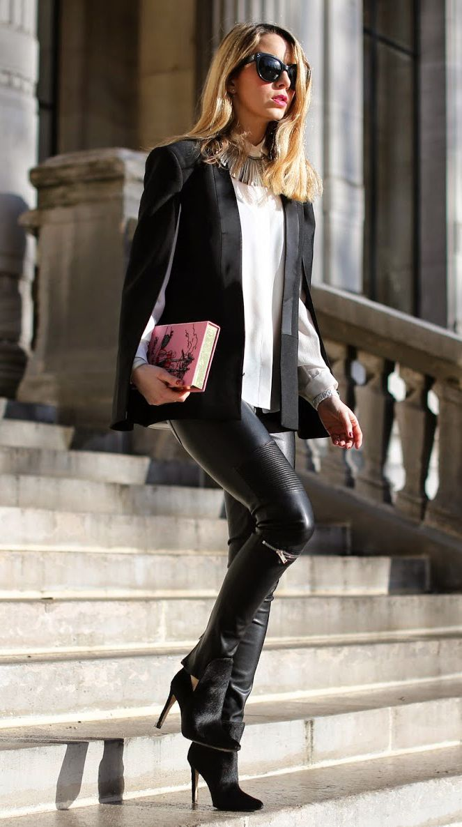 fashion-clue:  justthedesign:  Black and White Outfit Ideas: Caroline Louis is wearing a Pearl and Rubies cape with a pair of leather trousers and ankle boots from Zara and an Equipment shirt  www.fashionclue.net   Fashion Tumblr, Street Wear & Outfits