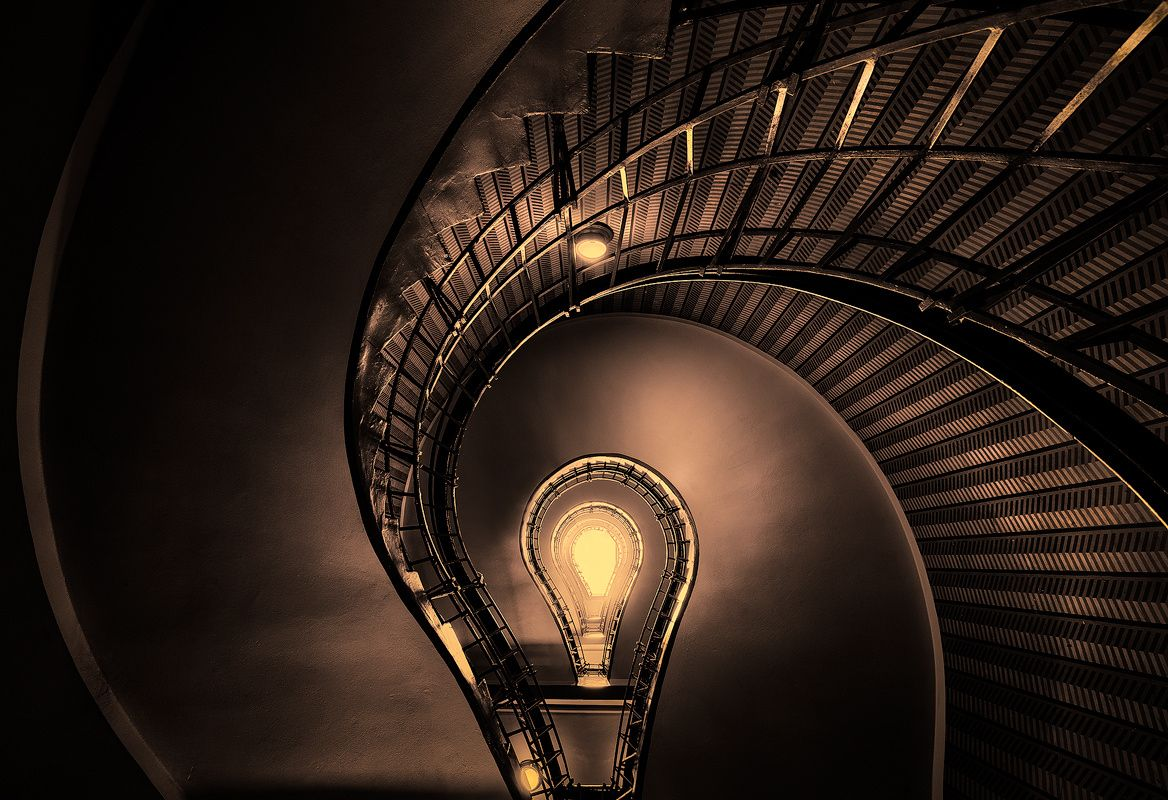 Bulb. Stairs in bulb shape in cafe Grand Prague