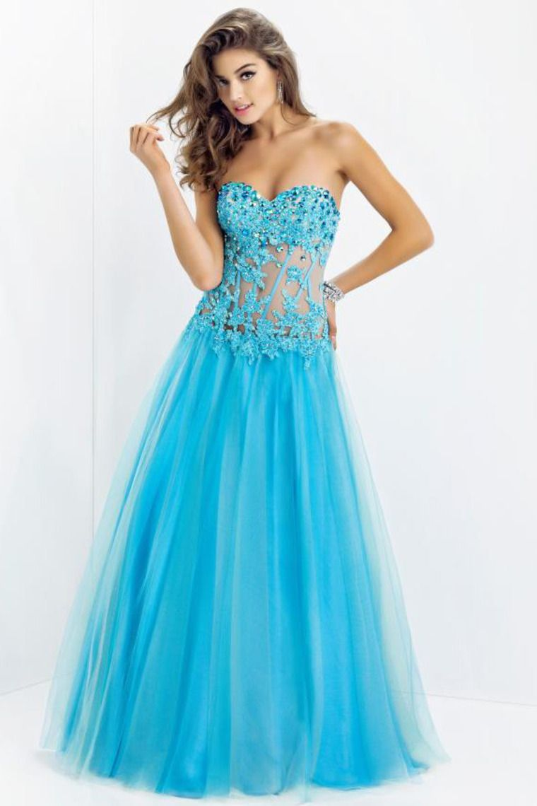 Shop new arrival tulle dress princess floor length sweetheart blue