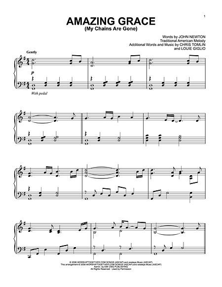 Amazing Grace My Chains Are Gone By Chris Tomlin Piano Fun
