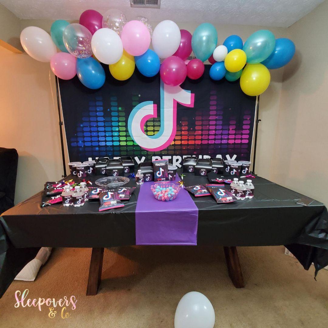 Tiktok Birthday Tiktok Sleepover Catch My Party Girls Birthday Party Themes Kids Party Themes Sleepover Party