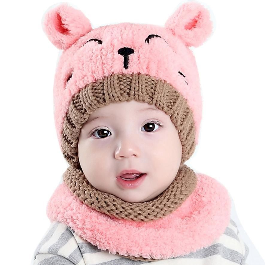 Baby Toddlers Hat and Scarf Set Girls Pink Design