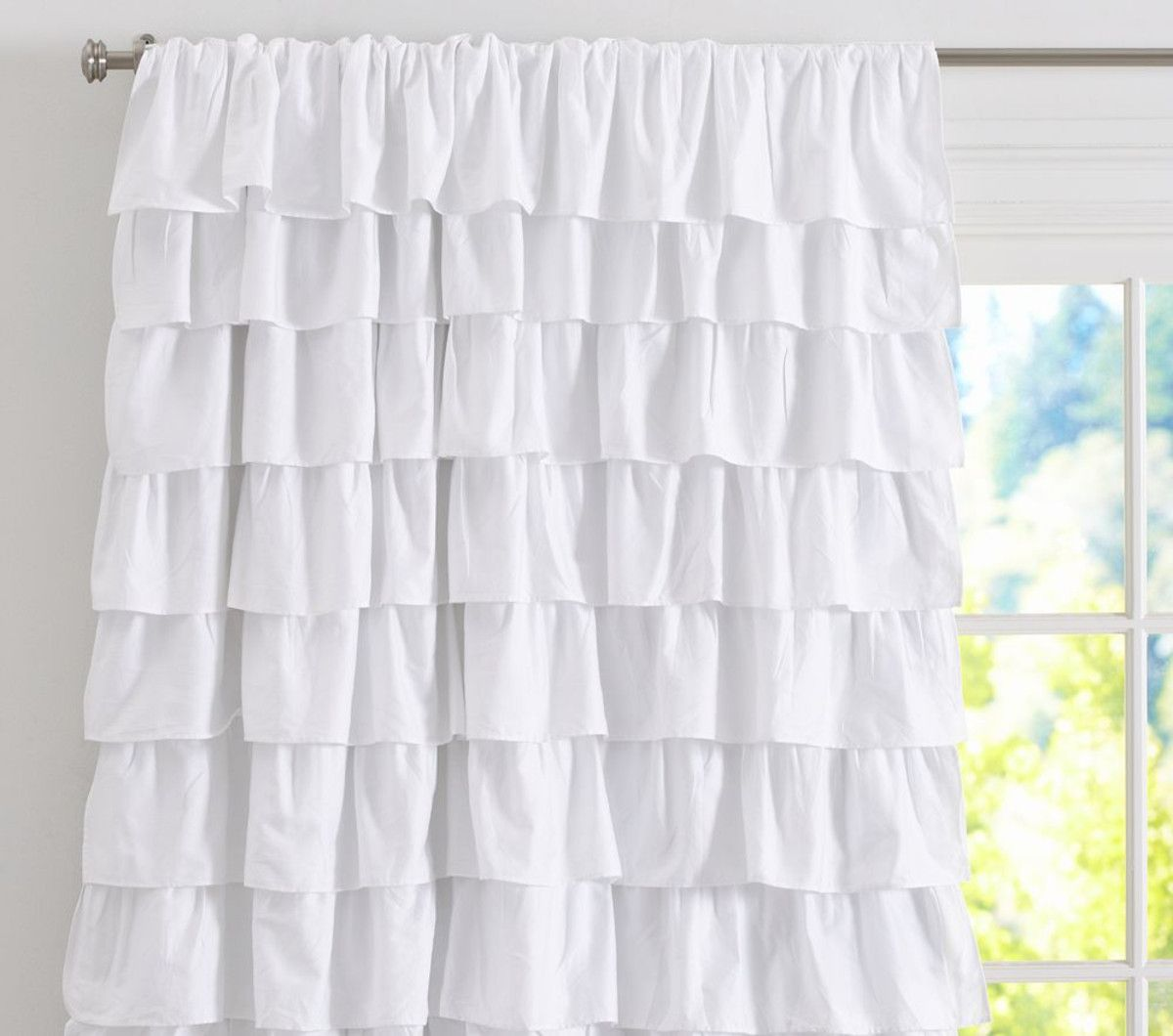 Nursery window ideas  ruffle blackout panel pretty but also blocks out  my girls