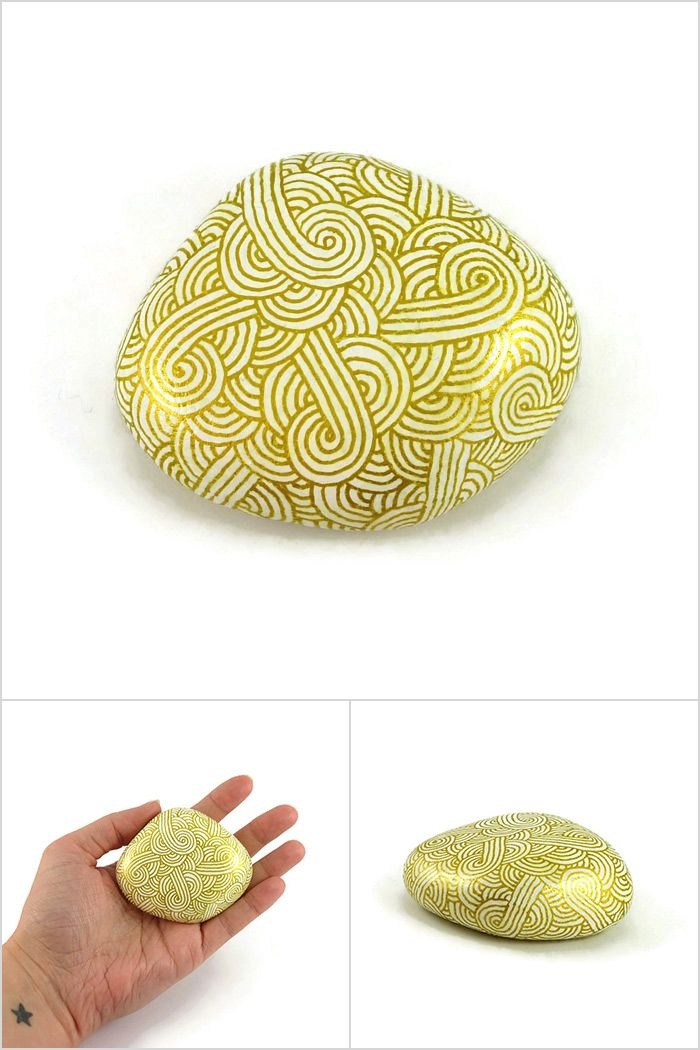 White decorative painted stone with metallic golden zentangle abstract painted pebble modern and unique meditative art object original gift idea made