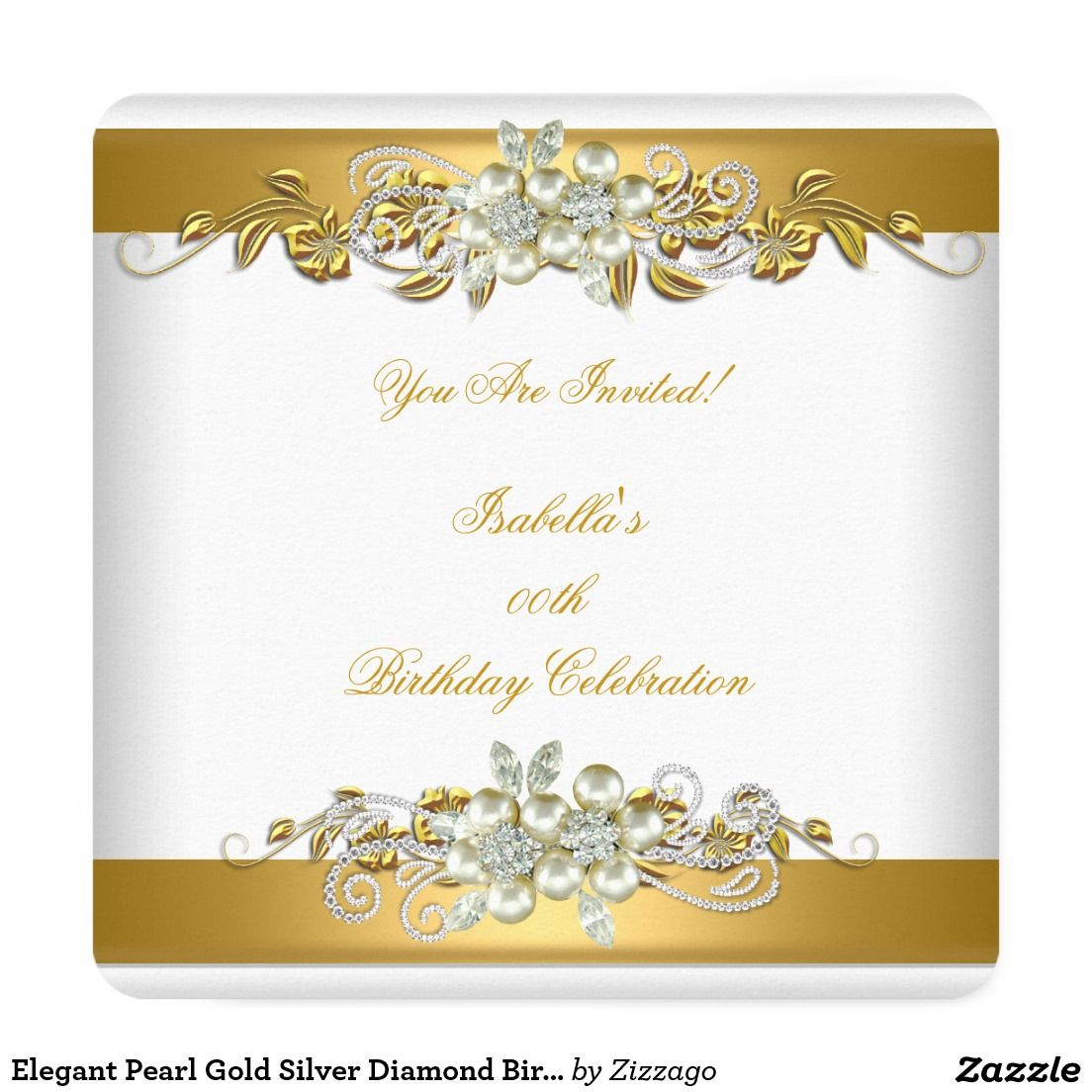 Elegant Pearl Gold Silver Diamond Birthday Party C Invitation