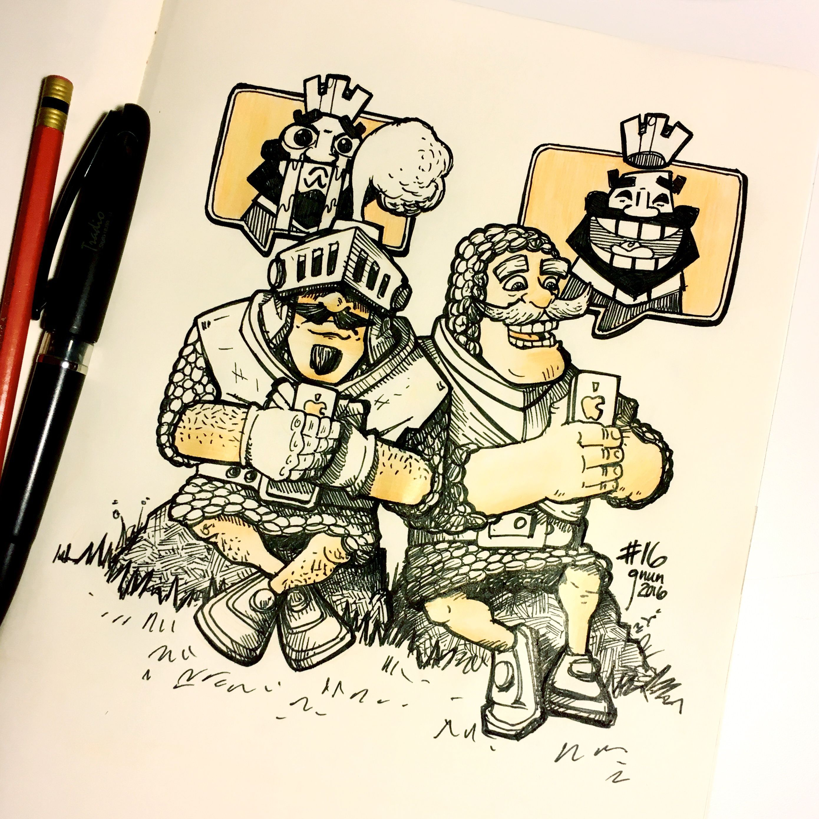 Inktober Drawing 16  Another Drawing Of Clash Royale Prince Vs Knight  #inktober