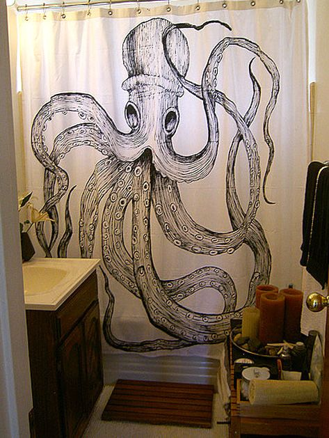 Hand Painted Vintage Octopus Shower Curtain Great Idea Might
